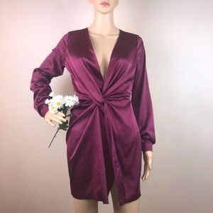 Fashion Nova Burgundy Satin Knot Plunge Dress